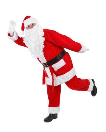 funny pose of santa claus on white background Stock Photo - 8392490