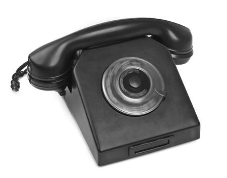 old bakelite telephone with spining dial on white background Stock Photo - 8601232