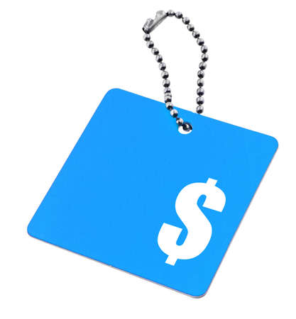 blue tag with dollar symbol and copy space for price, background is pure white  Stockfoto