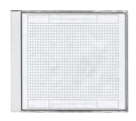 cd case with squared paper isolated on white background photo