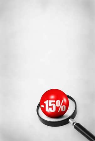 searcher: sale concept with 3D ball and magnifying glass on abstract dirty background Stock Photo