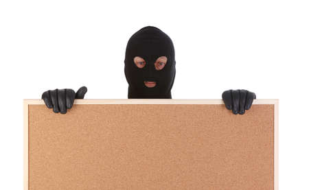 bandit with corkboard isolated on white background photo