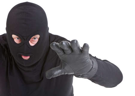 mugger: Burglar attack against white background