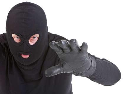 Einbrecher Angriff auf weißem Hintergrund