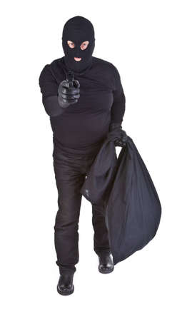kidnapper: robber aiming with his gun isolated on white Stock Photo
