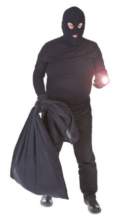 thieves: robber with flashlight and sack isolated on whitebackground