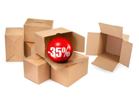 sale concept -35%, cardboard boxes and 3D sale ball, photo does not infringe any copyright Stock Photo - 9427003