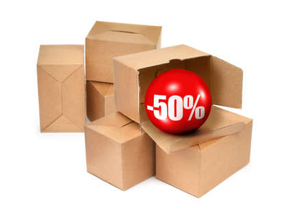 sale concept - cardboard boxes and 3D sale ball, photo does not infringe any copyright photo