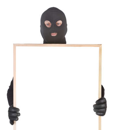 bandit with hollowframe isolated on white background Stock Photo - 9496608