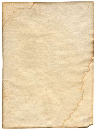 piece of stained paper isolated on white background Standard-Bild