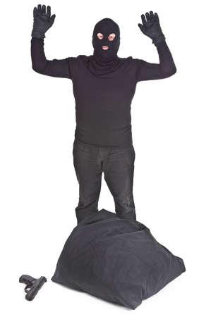 bandit surrendering isolated on white background photo