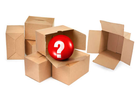 questioner: Pandora`s box concept on white background  Stock Photo