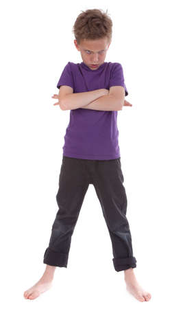 Angry child against white background Stockfoto