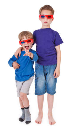 two boys having fun wearing 3D glasses photo