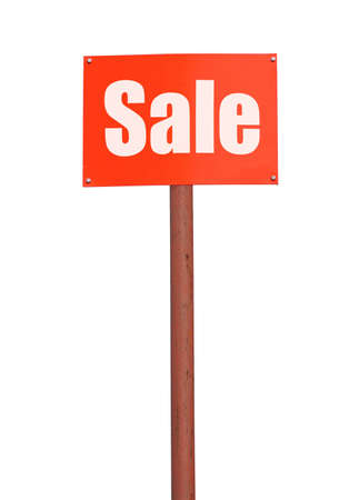 sign post with sale inscription isolated on white background photo