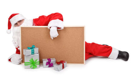 sackful: Santa claus and empty bulletin board  on white background
