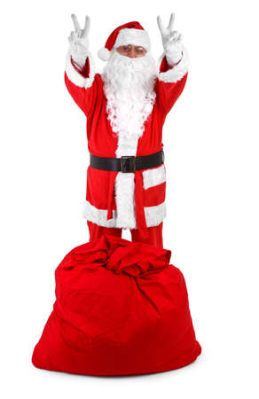 sackful: Funny santa claus isolated on white background, minimal natural shadow in front