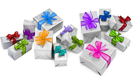 large group of christmas presents on white background Stock Photo - 11780582