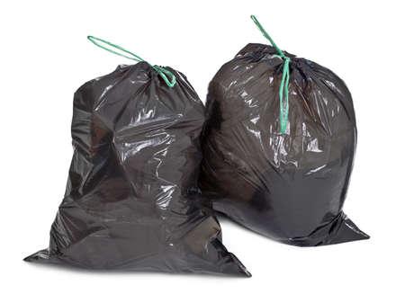 zwei gebundene Müllsäcke auf weißem Hintergrund