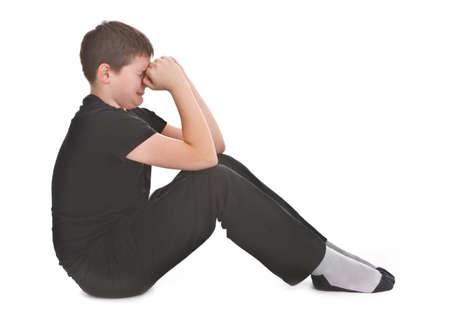 sad kid crying over white background Stock Photo - 12226014