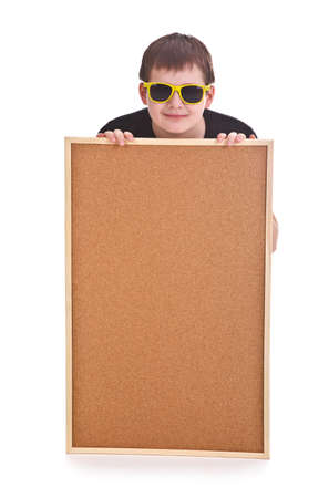 young boy and empty bulletin board on white background Stock Photo - 12226147