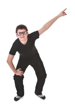 young boy pointing up over white background photo