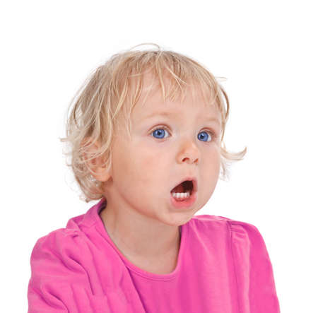 portrait of small girl yelling on white background Stock Photo - 16671950