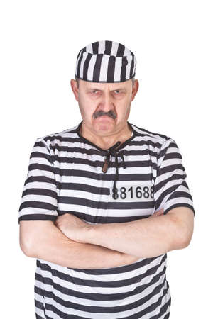 portrait of a angry prisoner over white background Stock Photo - 16990896