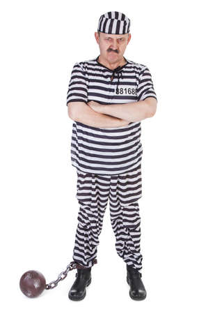 suffered: angry prisoner on white background Stock Photo