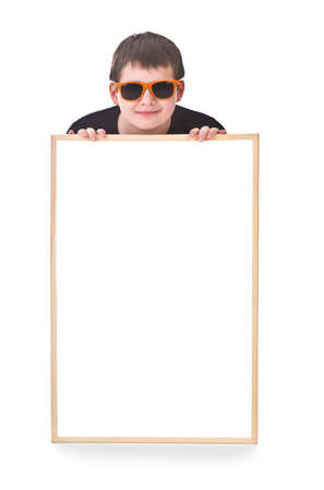 young boy and hollow frame against white background Stock Photo - 16990895