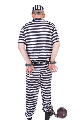 handcuffed prisoner on white - view from behind Stock Photo - 16990898