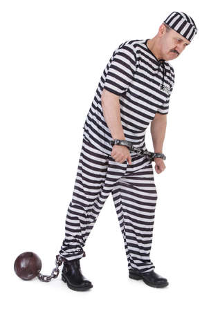 suffered: handcuffed prisoner on white background