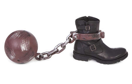 shoe and ball and chain over white background photo
