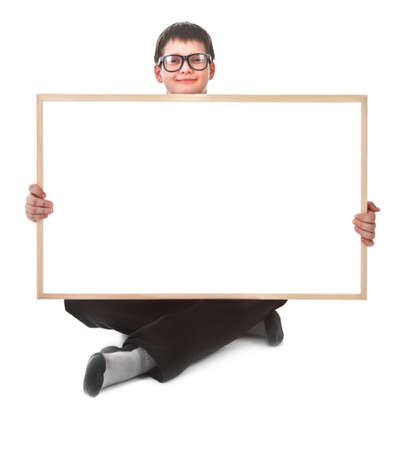young boy and hollow frame against white background photo