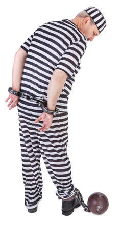 restraining device: handcuffed prisoner on white - view from behind