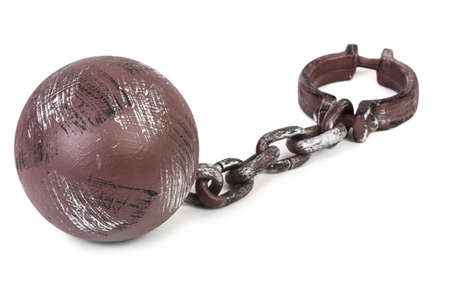 restraining device: ball and chain on white background
