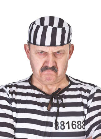 portrait of an angry prisoner over white background photo