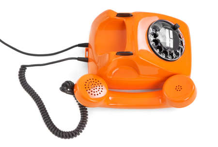 bakelite: bakelite rotary phone on white background