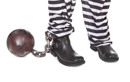 restraining device: Close-up of prisoners legs on white background