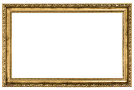 picture framing: large golden frame isolated on white background