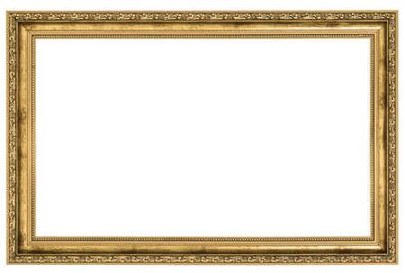 marcos decorados: marco de oro grande aislado en el fondo blanco