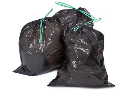 three garbage bags on white background