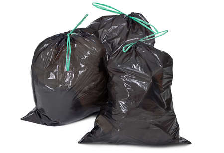 garbage bin: three garbage bags on white background