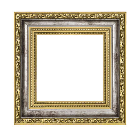 silver and gold frame isolated on white background photo