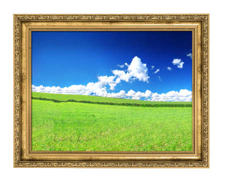 golden frame and blissful filed view, photo inside is  my property, paper texture clearly visibe on the sky section