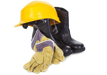 safety boots: hard hat, boots and gloves on white background, minimal natural shadow among objects
