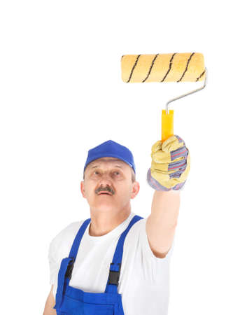 house painter is painting invisible wall, isolated on white background photo
