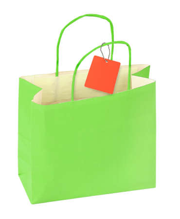 green shopping bag and blank price tag isolated on white background Stock Photo - 18497917