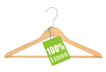 coathanger: coat hanger with hundred percent linen tag isolated on white background