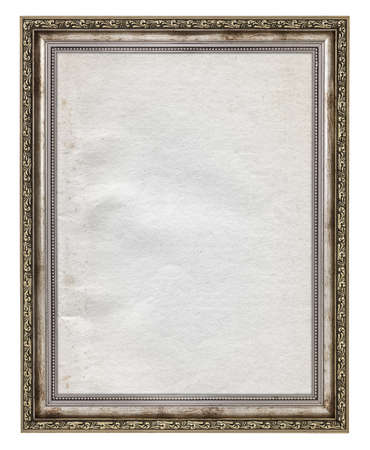 wooden frame with stained paper interior isolated on white  photo